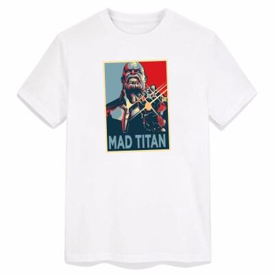 Vintage T-shirt Man Infinity War Superhero Thanos Pattern Cool Tees 100 Cotton O Neck White Clothing 2018 Diy Customizatn