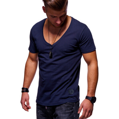 Summer Mens Fashion Casual Short Sleeve T-shirt Slim Fit Cotton O-neck Muscle Fitness Shirts Fashion Mens Clothing Tops
