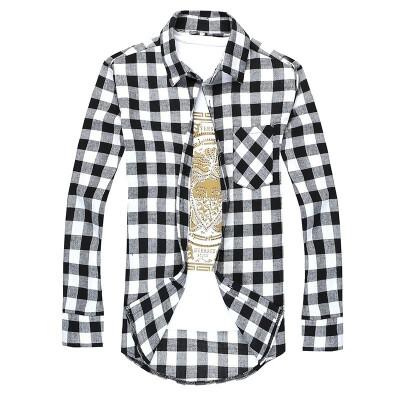 Fashion Spring Brand Mens Casual Plaid Shirts Long Sleeve Red&Black Checked Shirt Slim Fit Flannel Shirts for Men T-Shirt