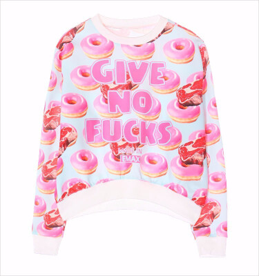 2015 new women hoodie long sleeve o-neck donuts letters casual sweatshirt 2 colors free shipping