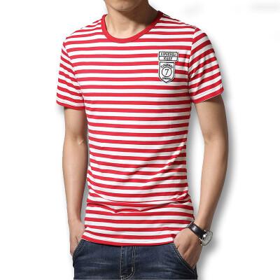 Fashion 2016 Summer Men's T shirts O Neck Striped T Shirts Fashion Slim Fits Casual Cotton Mens T shirts Hot Sale New T Shirts