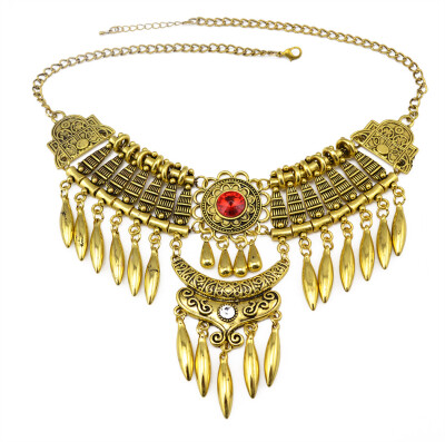 Bohemian Vintage Silver/Gold Multilayer Long Beads Tassel Big Crystal Pendant Choker Statement Necklace for Women