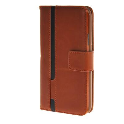 MOONCASE Senior Leather Flip Wallet Card Slot Bracket Back Case Cover for Samsung Galaxy S6 Brown