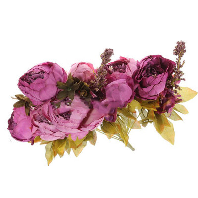 Vanker Bridal Wedding Party Festival Xmas Artificial Peony Silk Flower Decoration Bouquet Purple