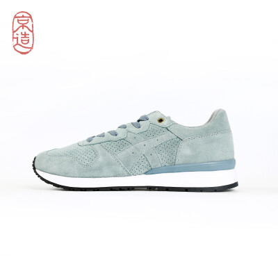 JZAO sports shoes urban casual retro suede leather running shoes lightweight wild couple shoes running shoes womens shoes Morandi blue 38 yards cloud gray