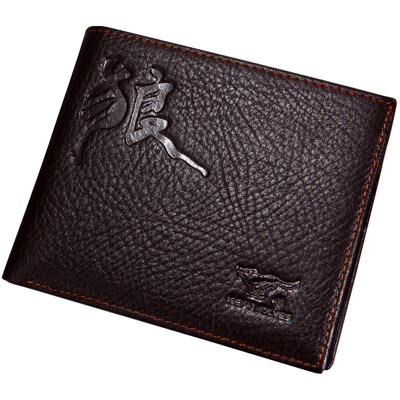 Seven wolves (SEPTWOLVES) men's wallet business casual men's first layer of leather cowhide two fold short paragraph wallet multi-function ticket folder gift box 392028 coffee