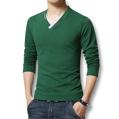 Free Shipping Fashion Men's T Shirts 2016 Spring Autumn New V Neck Long Sleeve Mens T shirt Men Casual Slim Fit Hot Sale
