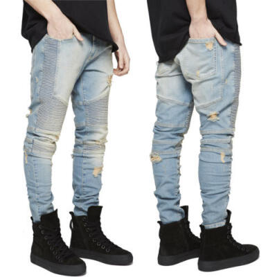 Mens Ripped Skinny Biker Jeans Distressed Frayed Slim Fit Denim Pants USA