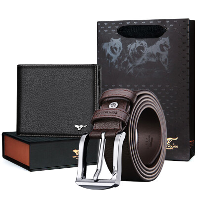 Seven wolves SEPTWOLVES men&39s belt purse gift box business casual men&39s needle buckle buckle belt first layer of leather short paragraph wallet card package gift T2307 brown black