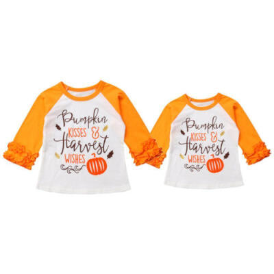 Toddler Kids Baby Boy Girl Cotton Long Sleeve T-shirt Tops Shirts Clothes Outfit