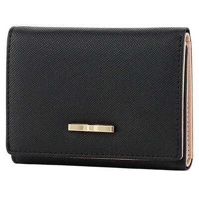 Ma Liannu short wallet female fashion sweet lady 3 fold black