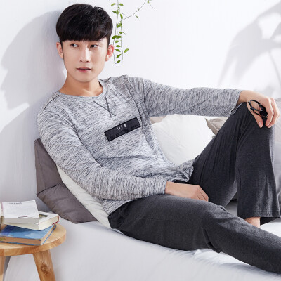 Jingdong supermarket Pai Ban slave PBENO pajamas male cotton long sleeves 2017 spring new casual wear home clothing suit 70711035 gray