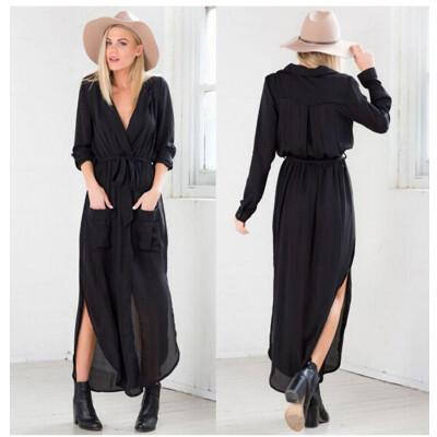 Buenos Ninos Women Sexy Long Sleeve Casual Chiffon Long Dress Deep V-Neck Solid Dress