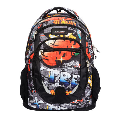 New Beauty] Kamili Long (Monica) Monsta personality cool large-capacity computer backpack male student bag 39Q * 39001 black printing