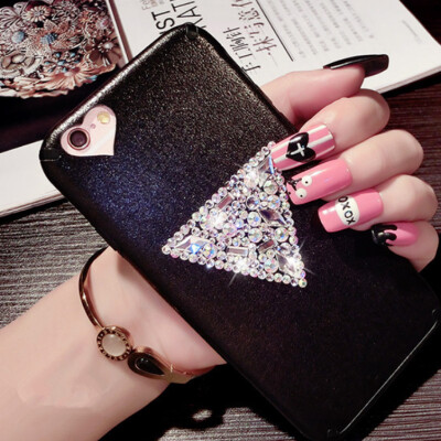 New Luxury Rhinestone PU leather Phone Case For iphone 6 6s Diamond Sparkling Back Cover For iphone 6 plus With Lanyard