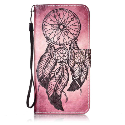 Maroon Wind Chimes Design PU Leather Flip Cover Wallet Card Holder Case for Samsung Galaxy S7 Edge/G9350