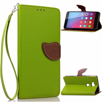 Green Design PU Leather Flip Cover Wallet Card Holder Case for Huawei Honor 5X