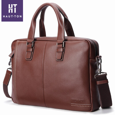 Haotton HAUTTON male bag handbag briefcase men business casual fashion first layer cowhide large capacity tide brand shoulder Messenger bag DB354 brown