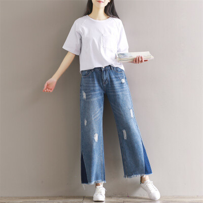 CITYPLUS Sen Wo Department of Arts and Crafts retro burr wide leg nine pants hole hole side triangle fight color jeans CWKN172354 blue