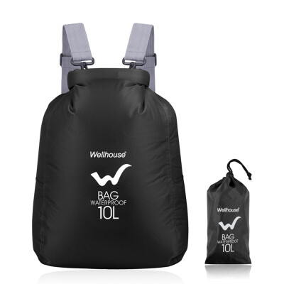 WELLHOUSE waterproof folding backpack travel shoulder skin bag men and women outdoor mountaineering camping beach portable storage 10L orange