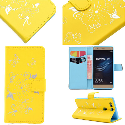 Yellow Hot Stamping Foil Gold Design PU Leather Flip Cover Wallet Card Holder Case for Huawei P9/EVA-AL00