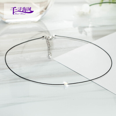 Chihiro sea breeze Fingdwind necklace choker collar female Korean version of the white shiny clavicle chain short pendant jewelry white shiny necklace