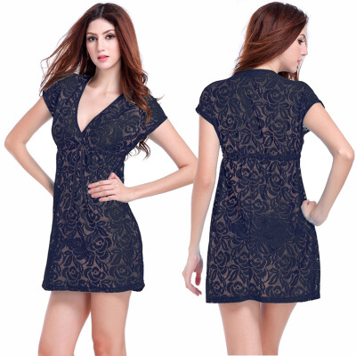 Sexy Women Lace Hollow Out Bikini Swimwear Cover Up Beach Dress Bathing Suit