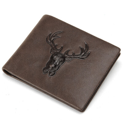 Playboy playboy mens wallet first layer cowhide simple mens wallet business wallet cross section PAA4063-7C brown