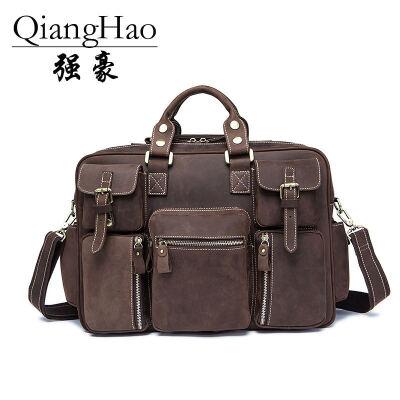 QiangHao mens briefcase business mens bags leather mens handbags shoulder bags laptop bags