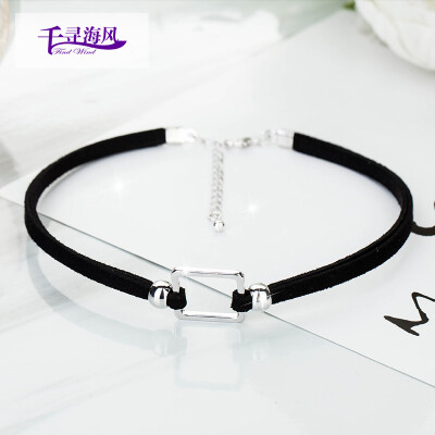 Chihiro sea breeze Fingdwind necklace female choker necklace Korean silver atmosphere simple clavicle necklace pendant necklace simple necklace