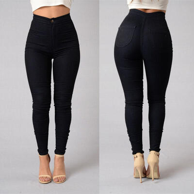 CANIS@Women Pencil Stretch Casual Look Denim Skinny Jeans Pants High Waist Trousers 01