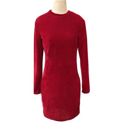 2017 Europe and the United States Christmas Velvet Long Sleeve Dress Dresses Wine Red Sexy Lady Dresses Gold Velvet Elasticity Hea