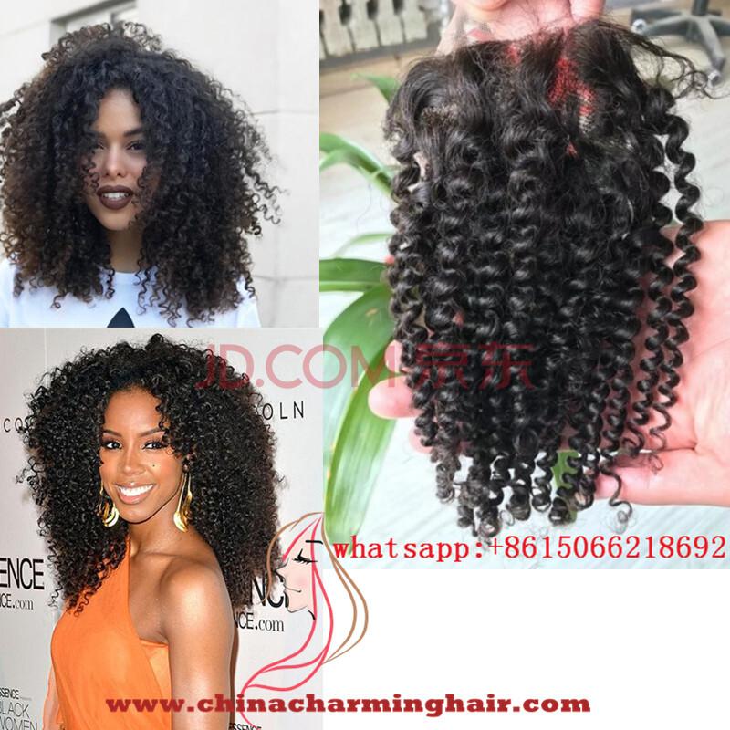 Malaysian Afro Kinky Curly Virgin Hair Lace Closure 4x4 Top Human Hair Closure Piece Malaysian Tight Curl Hair Closure