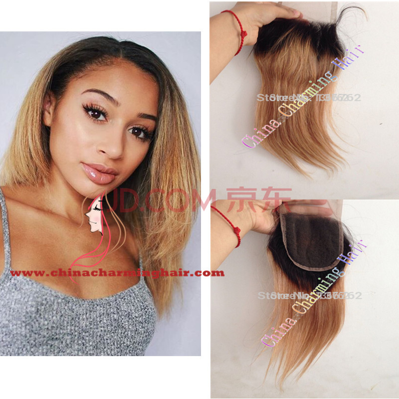 Ombre Lace Closure With Baby Hair Malaysian Virgin Hair Lace Closure Bleached Knots TwoTone Color 1b/27 Malaysian Straight