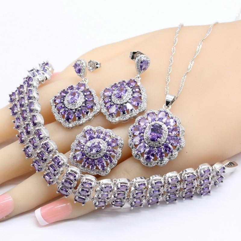 WPAITKYS Фиолетовый 10, 925 серебряных наборов ювелирных изделий