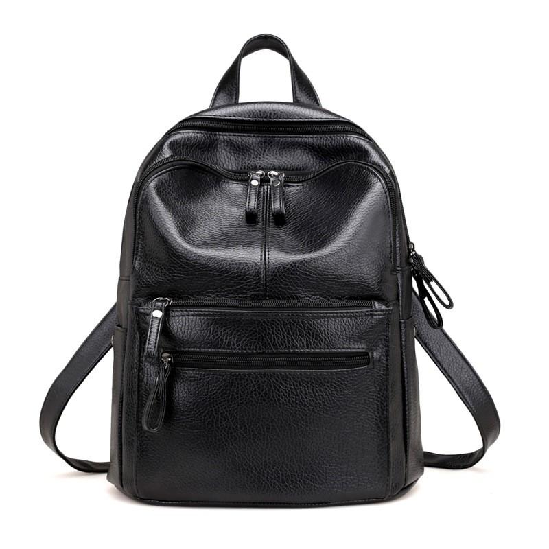 bda00a64c76d ₽956.69 SMOOZA Высокое качество Кожа PU Женщины Рюкзак Мода Твердые школьные  сумки для девочек-подростков Большая емкость Повседневная женщина Черный