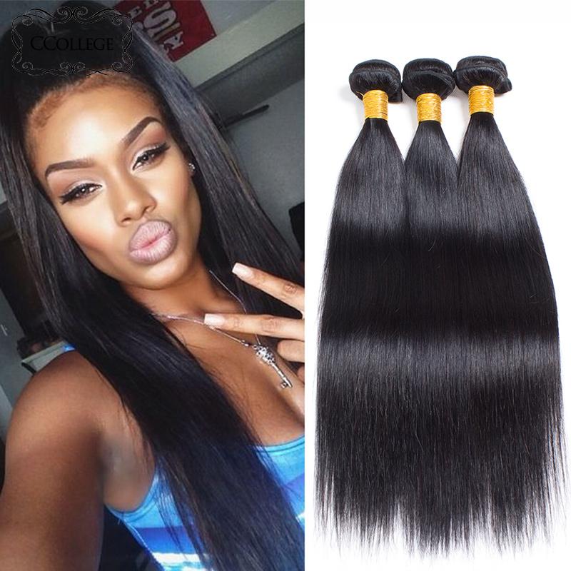CCollege Естественный цвет 16 16 16, Перуанские девственные волосы прямые перуанские прямые виргинские волосы 3 пучка