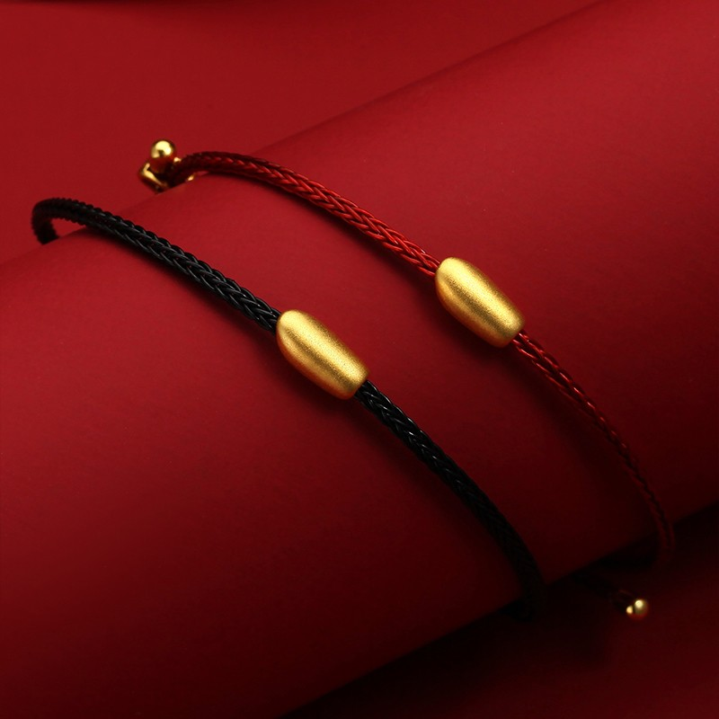 潮宏基 余生有米 黄金手链串珠足金转运珠手绳情侣同款 F 一对组合装(黑绳+红绳)