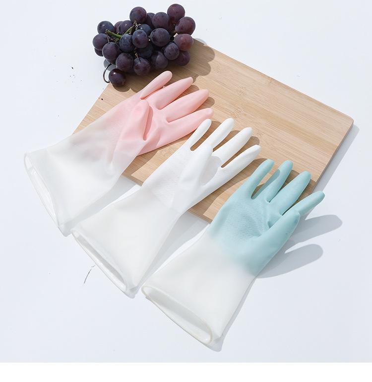 37998-绿盒子 1~4双仙女洗碗手套 耐用防滑清洁手套炫指手套 洗衣刷碗清洁家务手套 3双 颜色随机-详情图