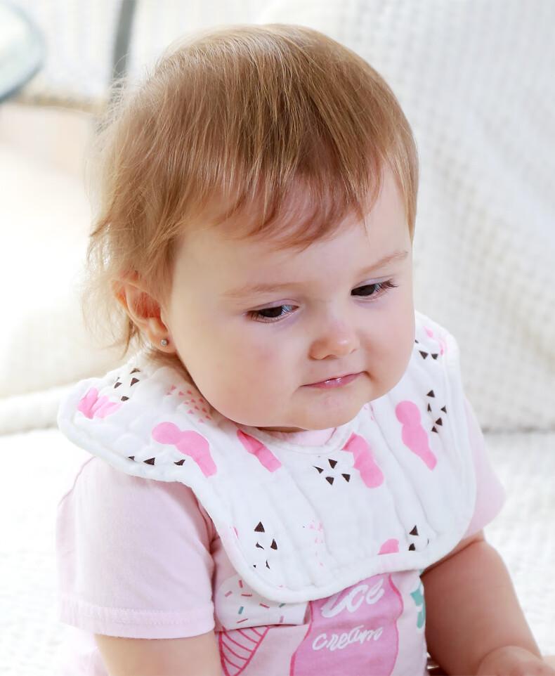 75901-亲攸婴儿纯棉纱布围嘴口水巾宝宝防水吐奶新生360度旋转男女童围兜 提花6层-随机色【3条装】-详情图