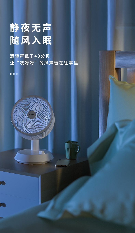 37846-大宇(DAEWOO)电风扇空气循环扇风扇卧室家用多功能涡轮空调电扇办公室台式母婴台扇 循环扇机械款-C20(白色)-详情图