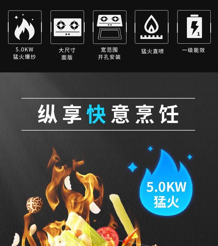 樱花(SAKURA)燃气灶天然气液化气煤气灶具5KW大火力台嵌两用家用定时双灶一级能效猛火灶台铜火盖 B9201【天然气】5.0KW大火力智能定时燃气灶