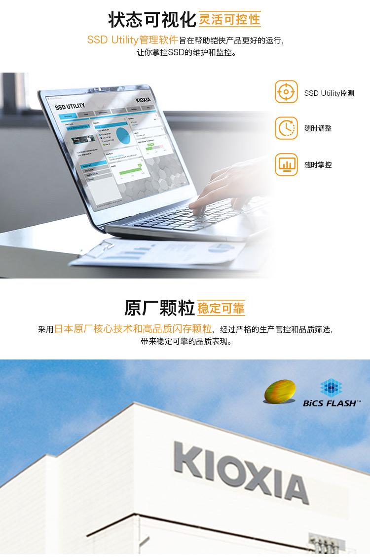 铠侠(Kioxia)M.2SSD固态硬盘PCIE笔记本台式电脑2280nvme协议M2东芝RC500 铠侠RC10 1TB固态