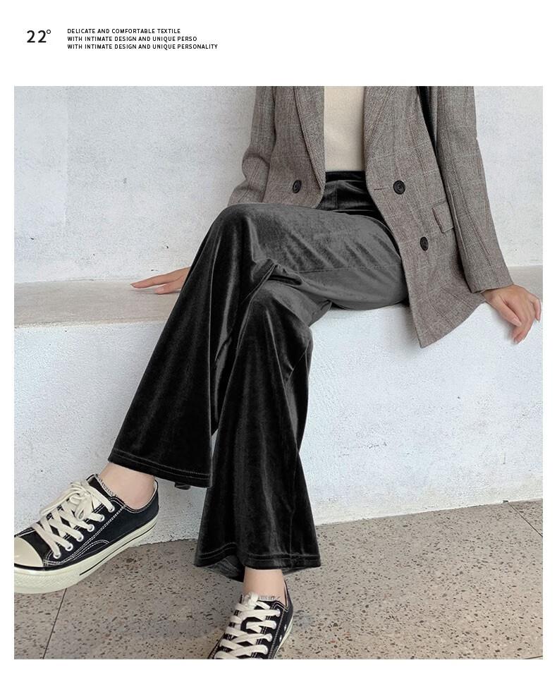88879-忻萦(XIN YING)金丝绒阔腿裤女秋冬高腰宽松坠垂感直筒黑色加绒裤子休闲拖地加厚 黑色(加绒加厚,免费退换) 均码(建议157cm-170cm,90-150斤)-详情图