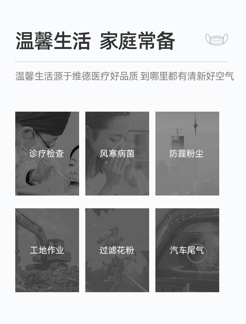 维德医疗(WELLDAY)一次性医用口罩挂耳式三层无菌级防细菌飞沫轻薄透气医护人员防护隔离口罩 灭菌级口罩5袋50只