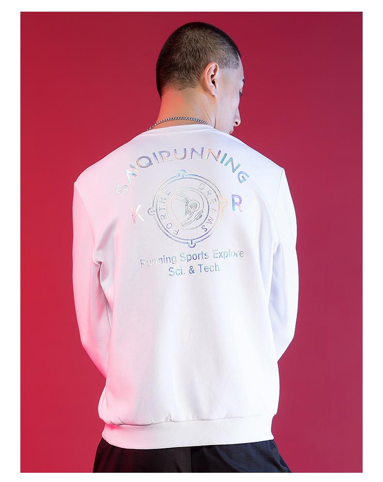 赛琪 卫衣秋季男士休闲运动上衣圆领套头针织卫衣外套 黑色-179679 L