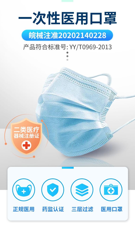 蓝色10支】 九信 一次性使用医用口罩 平面耳挂式 17.5cm*9.5cm*10只