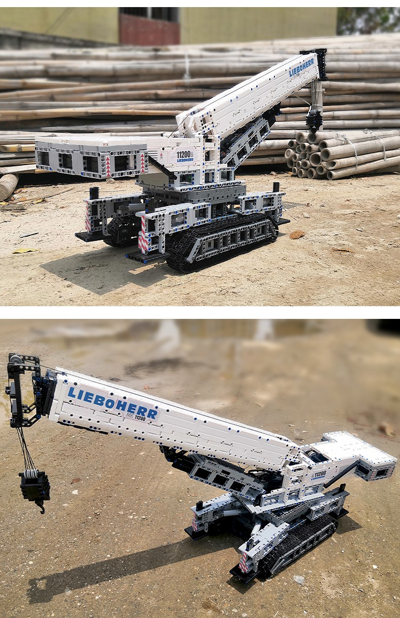 宇星模王积木 工程系列遥控起重机利勃海尔履带式起重机17002