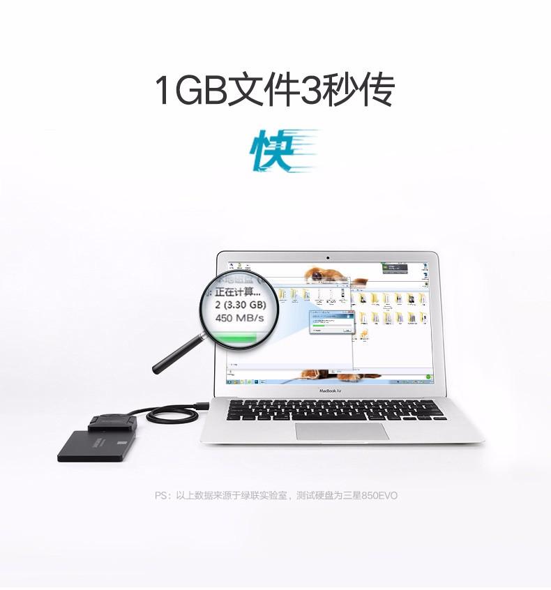 绿联 USB3.0转SATA转换器 笔记本电脑2.5/3.5英寸硬盘连接器数据转接线台式机易驱线 USB转SATA 0.5M+12V/2A电源套装