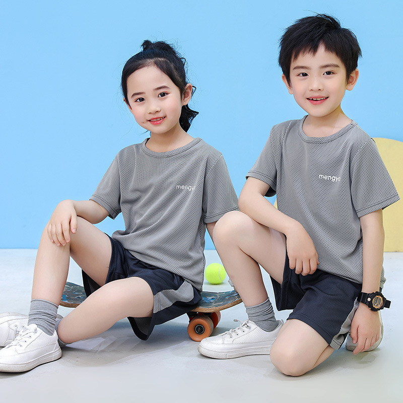 37793-夏季新款儿童短袖套装宝宝男女童网眼速干短袖T恤+短裤两件套 速干蓝色背心套装 160CM-详情图